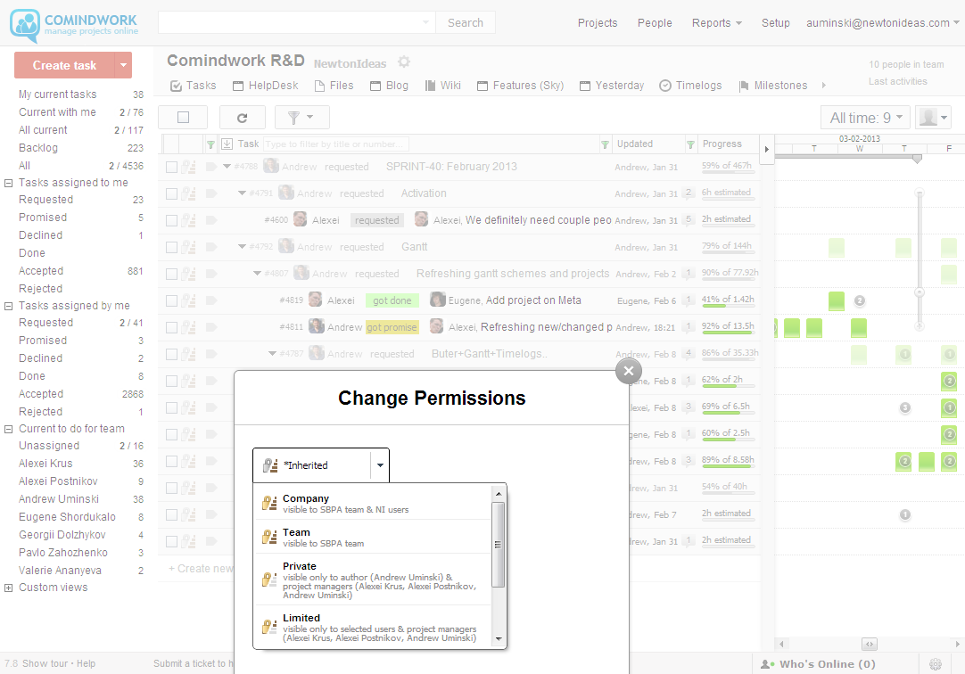 Fine grained permissions for your tasks and documents