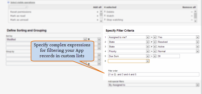 Complex Filter Expressions for Custom Lists of App Records