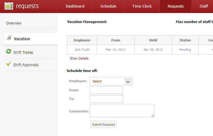 how to customize vacation request in shiftplanning